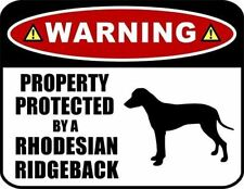 Warning Property Protected by a Rhodesian Ridgeback (Silhouette) Dog Sign