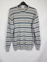 Lacoste men's jumper round neck striped grey mix wool mix size 5 003