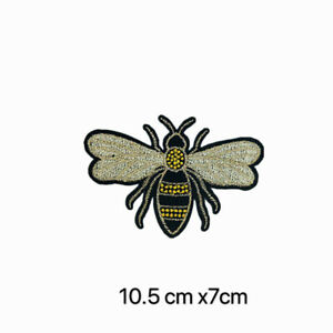 Bumble Bee Queen Animal Insect Iron On Embroidered Applique Patch Big