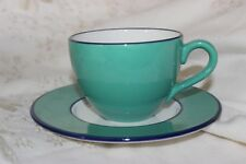 Italy made Tea Cup and Saucer Green and cream