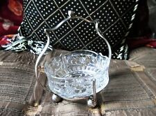 VINTAGE ORNATE GLASS DISH IN SILVER PLATED CARRIER / HOLDER + HANDLE 4 BALL FEET