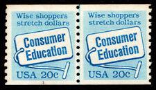 US, SC #2005, MNH, 1982, CONSUMER EDUCATION, COIL, LINE PAIR PLATE #1 PNC, Alcx