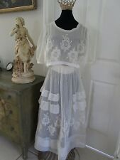 ANTIQUE EDWARDIAN EMBROIDERED FRENCH NET & LACE AFTERNOON TEA/ WEDDING DRESS