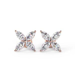 0.50 Carat Marquise Diamond Stud Earrings, 18k Rose Gold