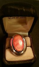 Sterling Handmade Indian Ring with Lg Coral or Spiney OySter stone, WJ Johnson