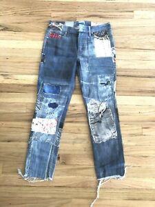 Mère Patchwork Denim Capri Jeans Moulant Taille 24
