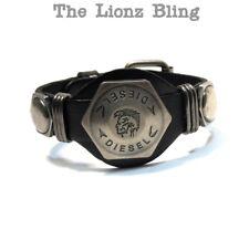 Vintage style Urban Genuine Black Cowhide Leather DIESEL Mohawk Skull Bracelet