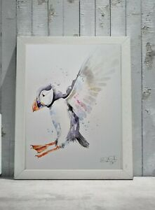 Large Elle Smith new original signed watercolour art painting of a Puffin Bird