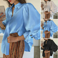 Womens Puff Sleeve Loose Tops Elegant Blouse Buttons Up Shirt Casual Solid Tee