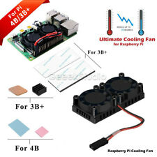For Raspberry Pi 4 Dual Fan Heatsink with Double Cooling Fans for Pi 4B / 3B+