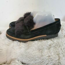 Franco Sarto Black Suede & Faux Fur Loafers Shoes 8