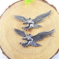20pcs Vintage Silver Alloy Flying Eagle Pendants Findings Crafts Charms 51257