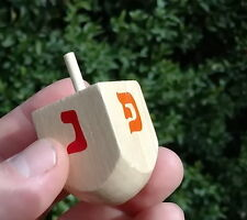 LRG Hanukkah WOOD DREIDEL Top Toy Wooden Sevivon Chanukah Craft Game Jewish Gift