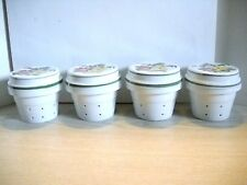 New listing Temp-Tations Four Ceramic Tea/Coffee/Strainers/Plan ters, Lids, Floral Embroidery
