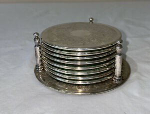 Strachan Silver Plated Drink Coasters X 8 And Holder Non Slip Made In Australia