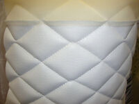 "Vinyl Leather Faux vinyl white 2""x3""  Diamond headliner headboard fabric By Yard"