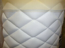 "Vinyl Leather Faux vinyl white 2""x3""  Diamond headliner headboard fabric 3 yards"