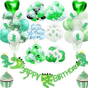 Dinosaur Happy Birthday Paper Banner balloons Bunting Party Decoration DIY UK