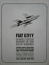 6/1965 PUB FIAT AVIAZIONE FIAT G.91 Y DUSENJAGER FOTOAUFKLARUNG GERMAN AD