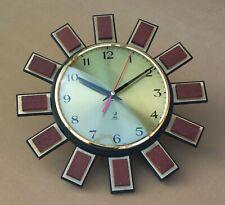 Pendule JAZ ELECTRONIC FARVIC vintage forme SOLEIL BOIS ancien horloge MARCHE