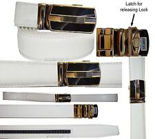 Men's belt. Leather Dress Belt Automatic lock Click Comfort New Buckle UP 50""