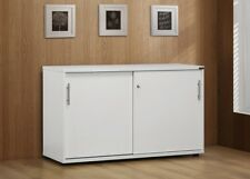 Stella LOCKABLE White Credenza Work Study Office Home Table Computer