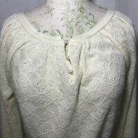 Vintage 80s Garland Ivory Pointelle Knit Sweater Size S Made In The USA