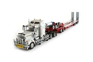 Kenworth T908 w/ Drake 4x8 Swingwing Trailer - White/Red 1:50 Scale #T09001 New!