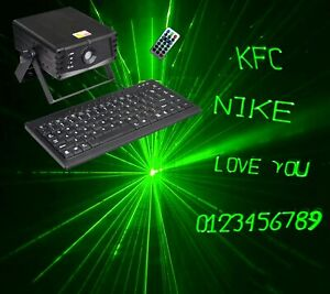 WRITE YOU OWN MESSAGES TEXT IN GREEN DISCO LASER LIGHT inc KEYBOARD DJ 380G