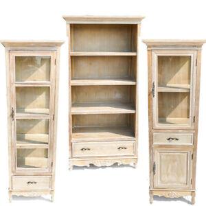Stunning Paulownia Hard Wood Limed Oak Bookcase/Glass Cabinet/Display Cabinet