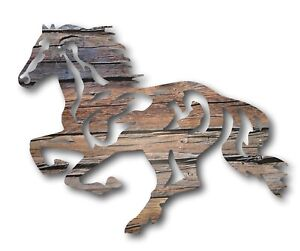 Large Galloping Mustang Horse Metal Wall Art Laser Cut Equine Outdoor Plaque