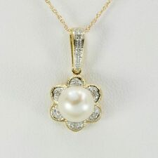 8.5mm Pearl & 8 Diamond 9ct 375 Solid Gold Pendant - Free Ship, 30 Day Returns