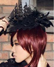 RQ-BL Fascinator Victorian Gothic Hut Schiff Steampunk Black Headpiece WGT SP044