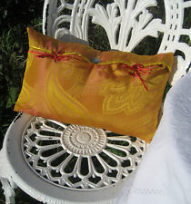 Handmade Oriental Orange Paisley Faux Silk Jacquard Small Feature Cushion Cover