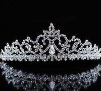 Flower Tiaras Austrian Rhinestone Silver Crown Wedding Bride Headband Prom Party