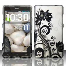 AT&T LG Optimus G E970 Rubberized HARD Case Snap On Phone Cover Black Vines