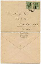CEYLON to TRINIDAD 1910 KE7 3c x 2 to PAUL ANDUZE...BALANGODA CANCEL