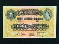 East Africa:P-35,20 Shillings,1955 * Queen Elizabeth II * AUNC *