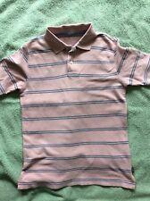 Gap Boys Age 10-11 Years Polo Shirt Pink Stripe 100% Cotton