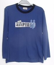 New Boys Ikks Brushed Cotton Blue Logo Long Sleeve T-Shirt Top Age 8