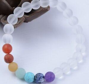 8mm jfgh32 adjusted white crystal glass Bracelet Stone bead women Chakra