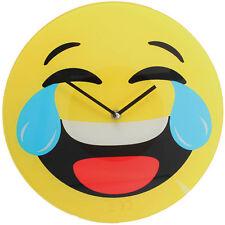 Orologio Da Parete In Vetro Emoticon Emotion Emoji 30 Cm Pianto Risata Sorriso