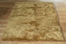CAMEL Faux FUR area Rug 4' x 6' washable non-slip MADE IN USA