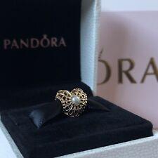 PANDORA 14ct Gold Vintage Openwork Pearl Heart Charm 750822P Genuine