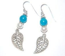 Aqua Blue CHALCEDONY Gemstone & Pearl Filigree Leaf STERLING Silver Earrings
