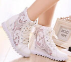 Womens Lace Up Mesh Hidden Wedge Heel High Top Fashion New Sport Sneakers Shoes