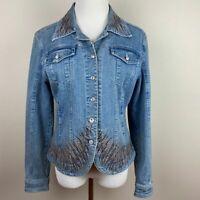 Christine Alexander Denim Jacket S Swarovski Crystal Blue Jean Embellished Women