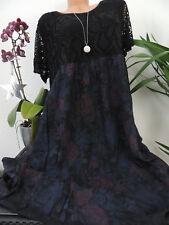 Damen Kleid Größe 46 48 50 52 54 Übergröße Kleider Maxikleid Blumen Spitze 137