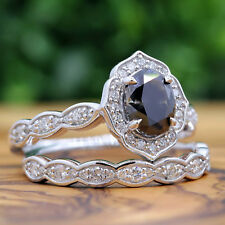 3.00 CT Black Diamond Oval Shape Real 10K White Gold Engagement Ring Bridal Set
