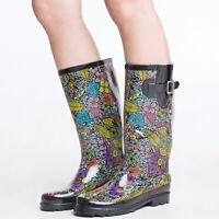 SheSole Women's Rain Boots Rubber Waterproof Wellies Garden Shoes Black Floral